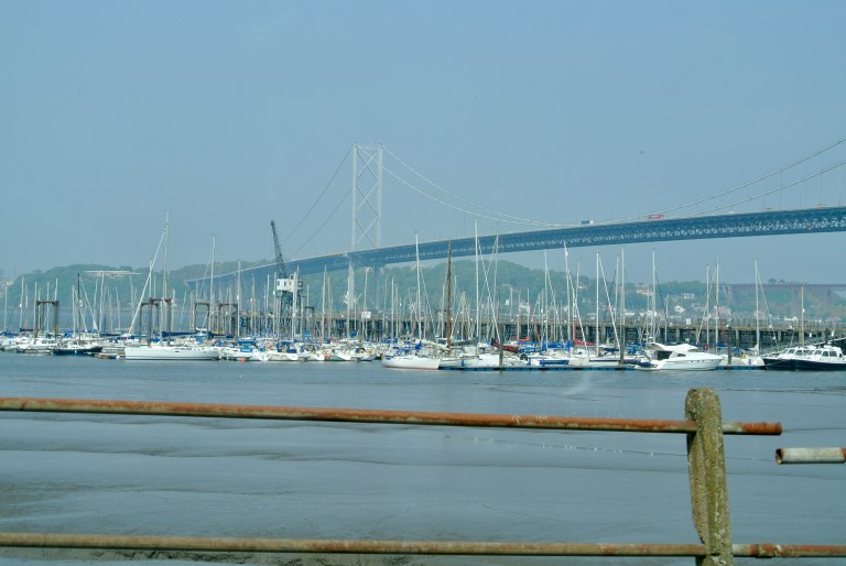 Sailboats docked in the Firth of Forth.