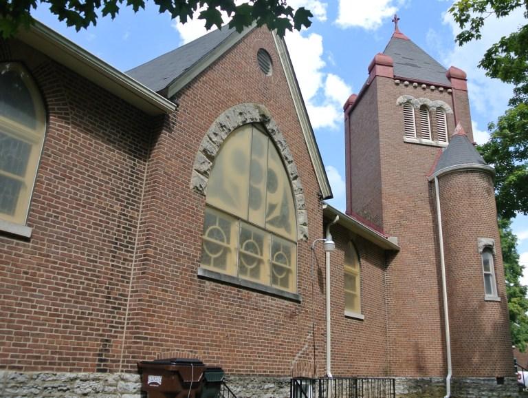 An old red brick church.