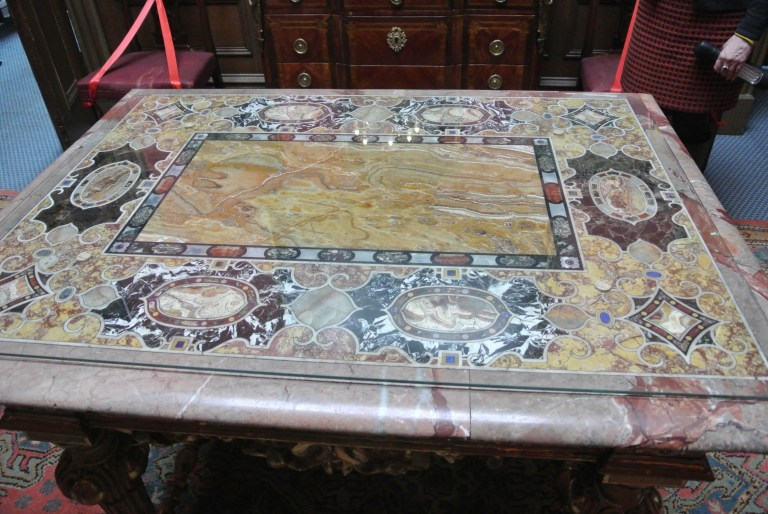 An ornate marble table from the 1500's.