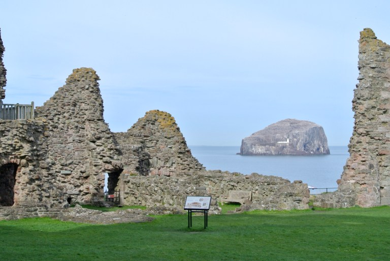 Tantallon Castle and Bass Rock in the distance.