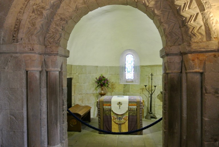 The arched chancel inside St. Margaret's Chapel.