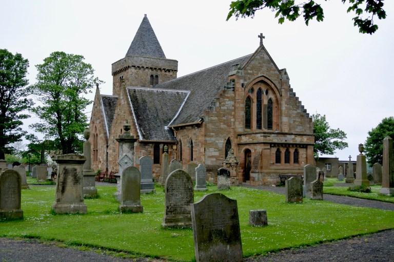 Aberlady Parish church and graveyard.