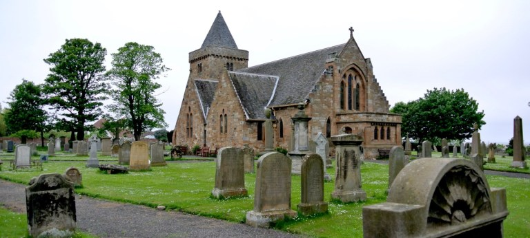Aberlady Parish Church and old gravestones.