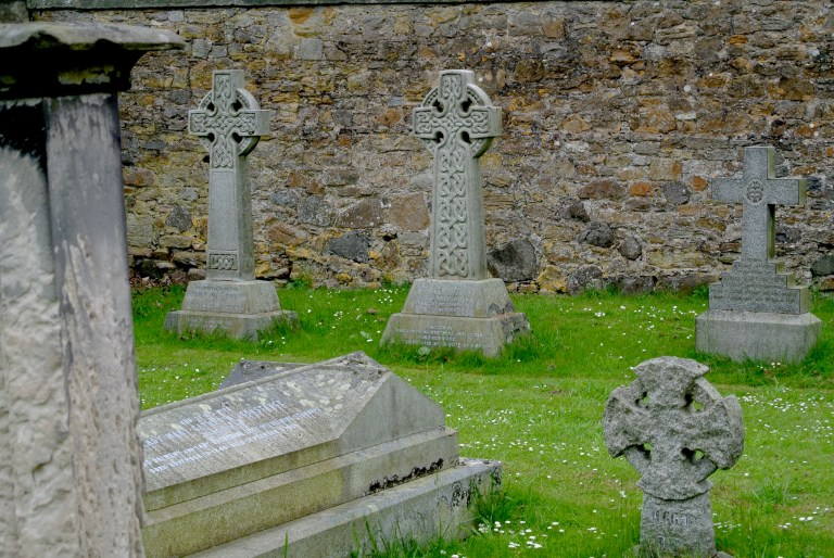 Old Celtic cross gravestones.