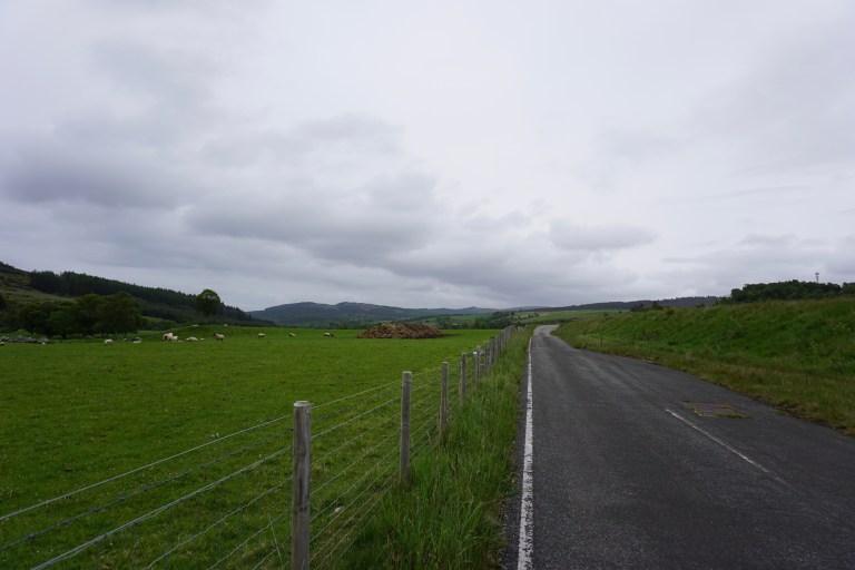 A single track road in Scotland.