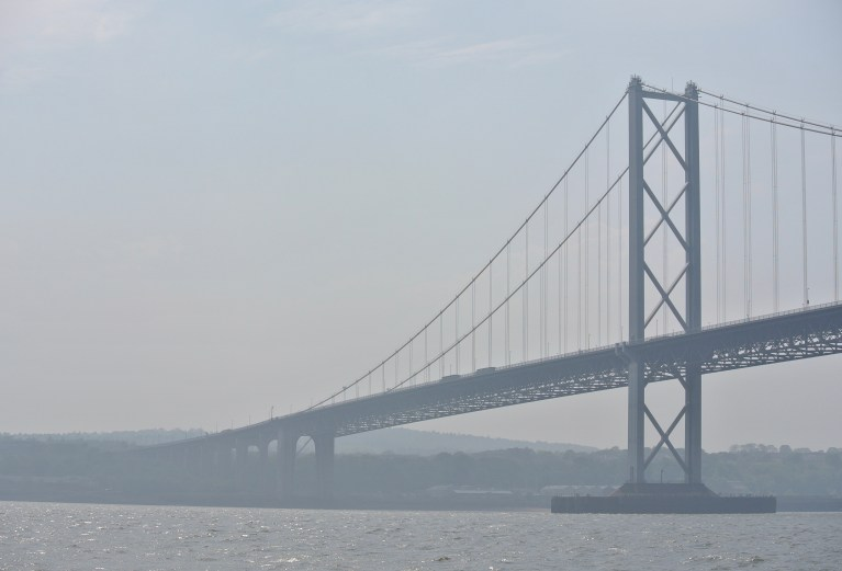 Forth Road Bridge over the Firth of Forth in Scotland.