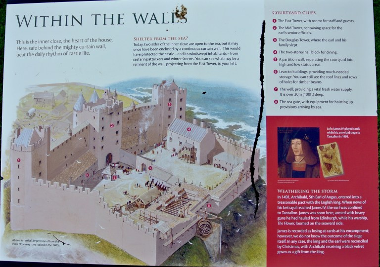 Signage posted at Tantallon Castle.