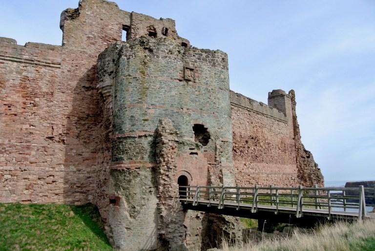 Tantallon Castle and a modern bridge to the entrance.