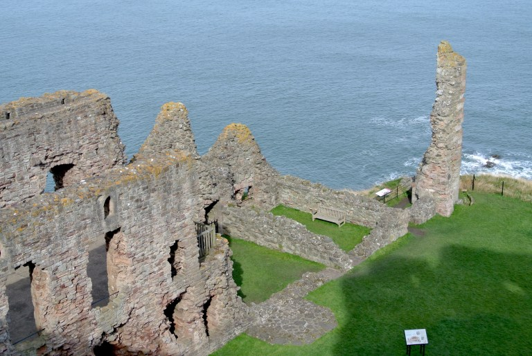 Tantallon Castle ruins set against the Firth of Forth.