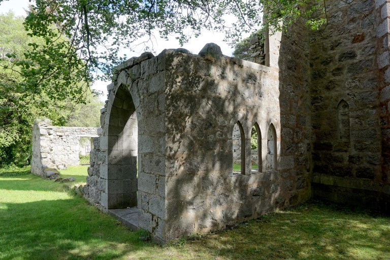 The doorway to the ruined Laggan Free Church.