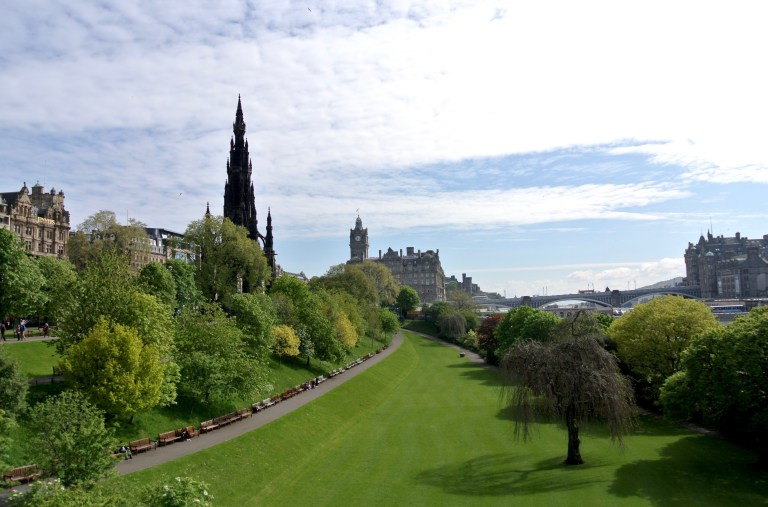 The Scott Monument and Princes Street Gardens.