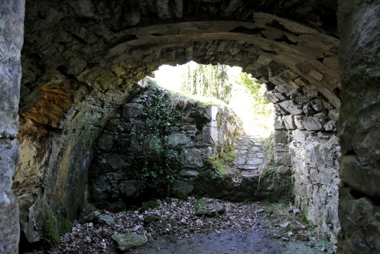 The crumbling interior of Finlarig Castle.