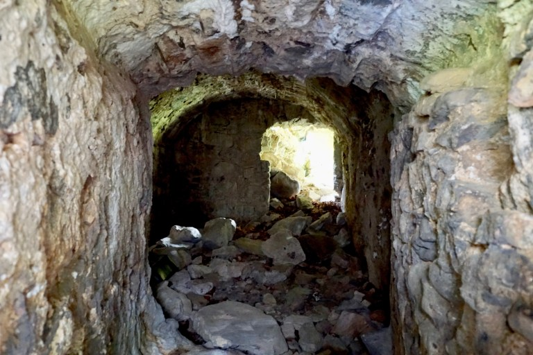 The crumbled interior of Invergarry Castle.