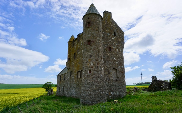 A tower and turret at Inchdrewer Castle in Scotland.