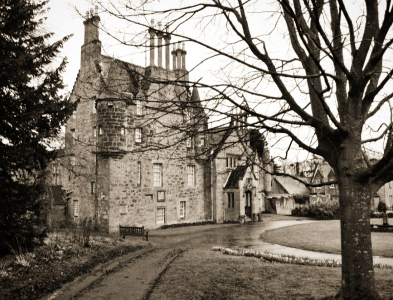 Exterior view of Lauriston Castle in sepia.
