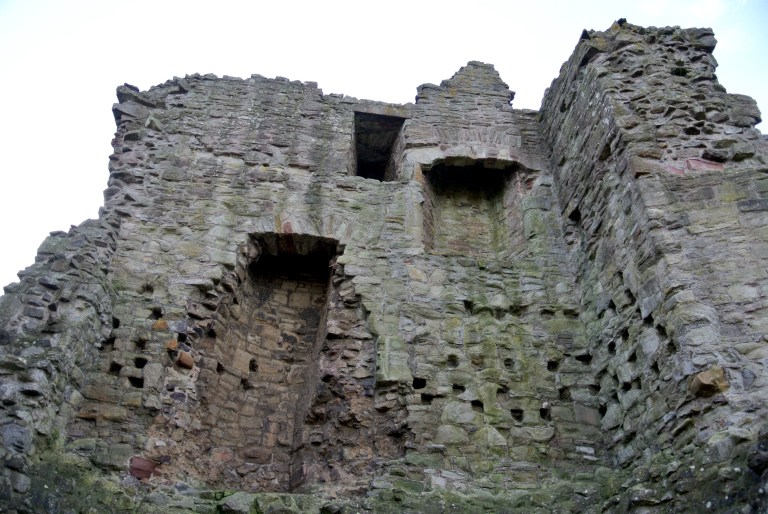 Ruined interior castle walls.