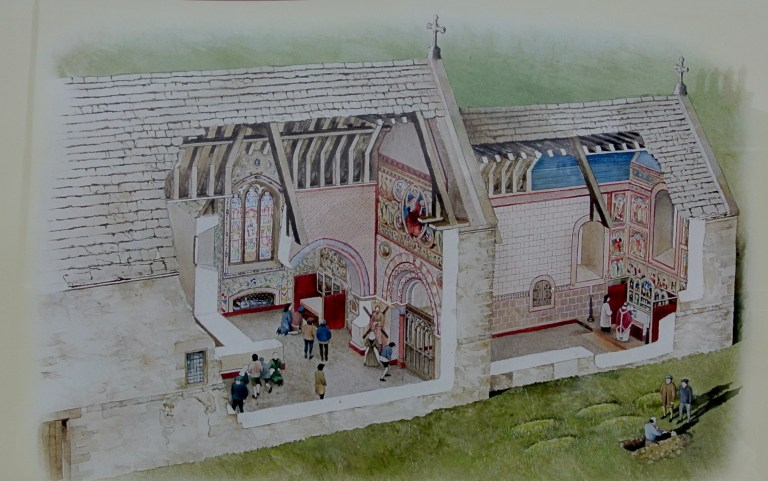 An artist's drawing of a church.