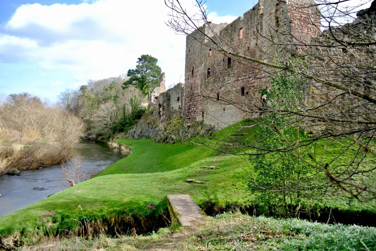 Hailes Castle on the River Tyne in East Lothian, Scotland.