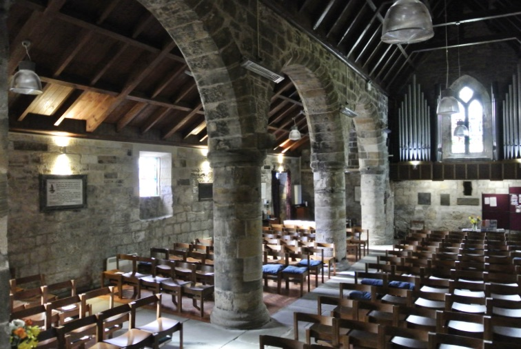 The inside of St. Fillans Church in Aberdour, Scotland.