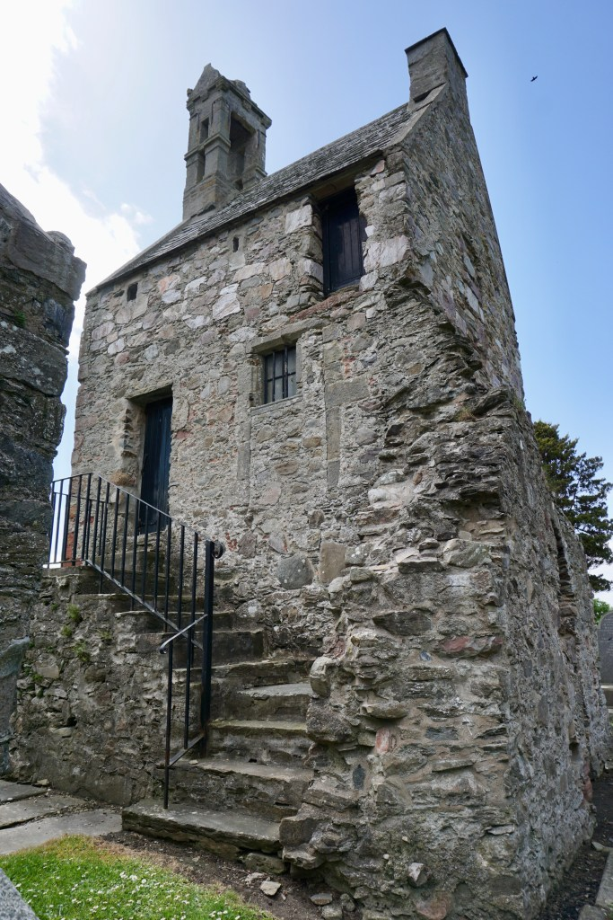 Northeast view of St. Talorgan's bell tower.