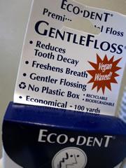 Eco-Dent dental floss in a cardboard box