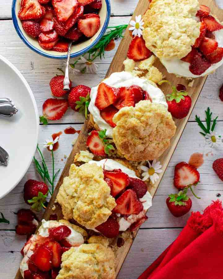strawberry shortcakes on wooden board