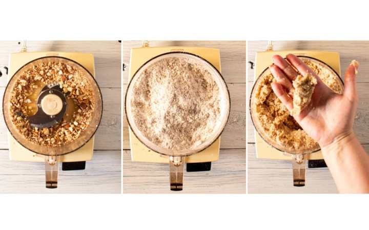 triptych of crust making process in a food processor