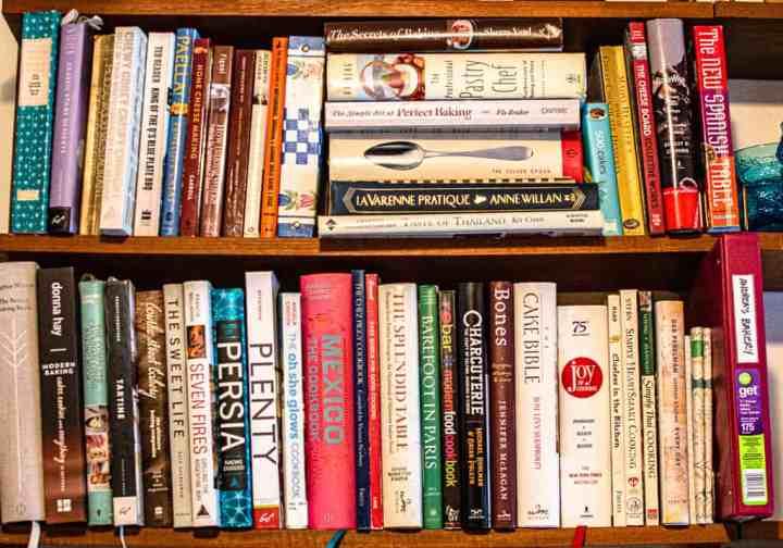 Two shelves of cookbooks