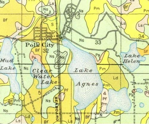 Road Map - Polk City, Florida - 1927