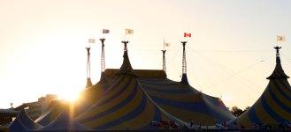 Cirque du Soleil tent at sunset