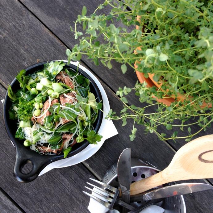 broccolini beef and wasabi pea salad