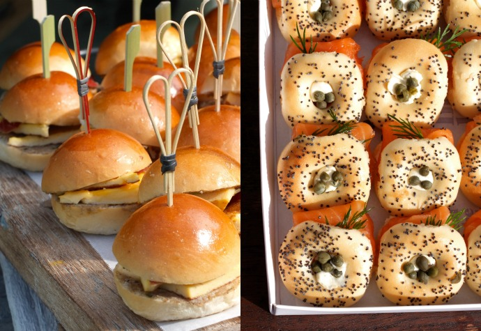 breakfast burger and bagels