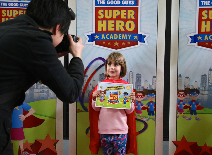 At the conclusion of the workshop, each child will take home a super hero goodie bag that includes a cape, mask and participation certificate, ensuring they're well equipped to continue their super hero experience.  Best of all its absolutely free!