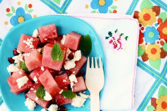 Watermelon Feta and pomergranate salad recipe mypoppet.com.au