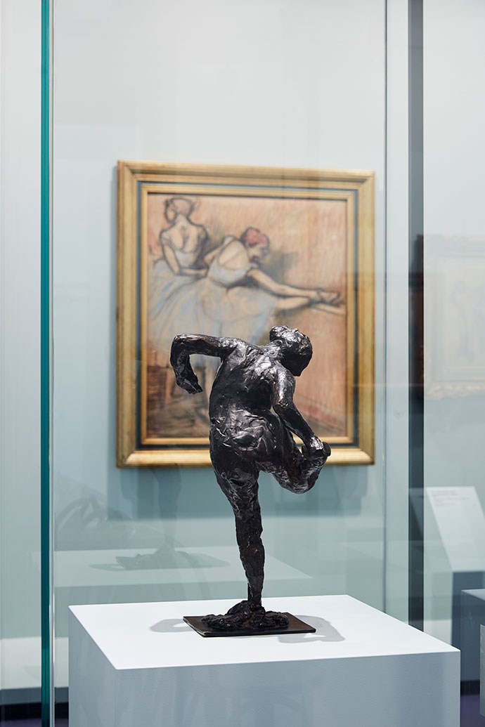 Edgar Degas Dancer looking at the sole of her right foot (Second study) c. 1900–10, cast 1919–37 or later bronze Installation view of Degas: A New Vision at NGV International, 24 June – 18 September 2016. Photo: Tom Ross