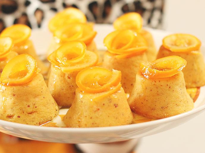 Whole Orange Almond Mini Cakes with Orange Syrup