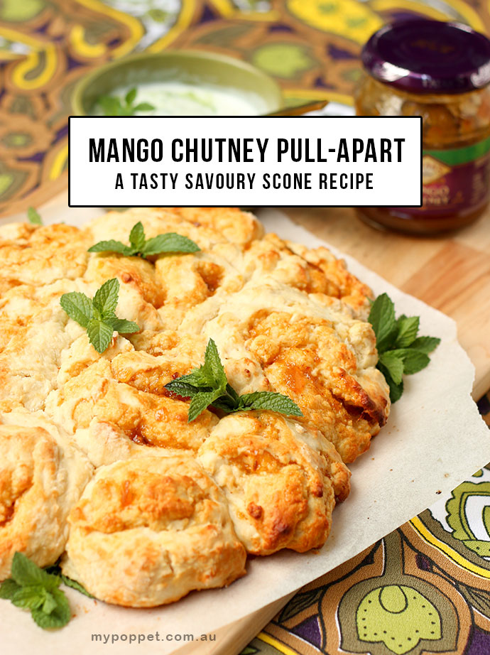 Mango Chutney Savoury scone pull-apart recipe - mypoppet.com.au