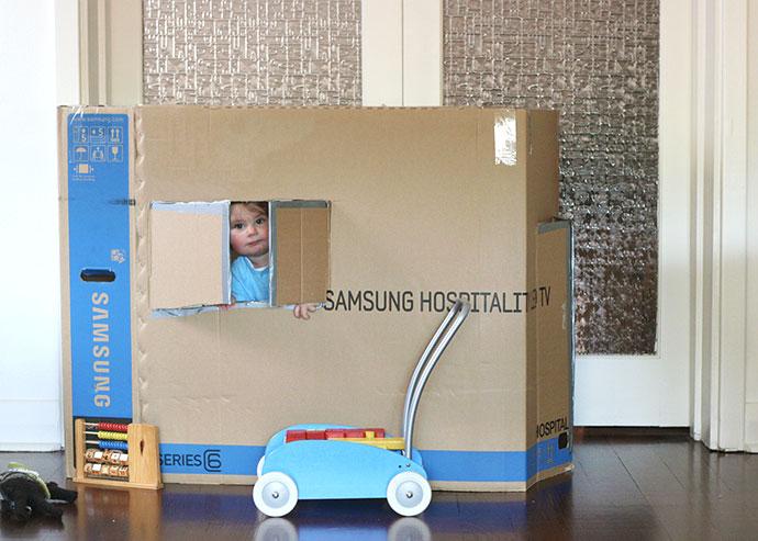 build a box fort - school holiday ideas - mypoppet.com.au