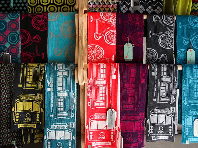 Tram scarves Otto & Spike - Melbourne Made Knitwear - mypoppet.com.au