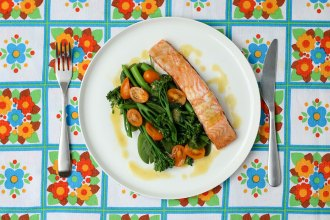 Roasted Salmon with veggies and lemon sauce - mypoppet.com.au