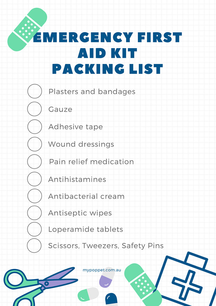 Free printable Emergency first aid kit packing list for travellers - mypoppet.com.au
