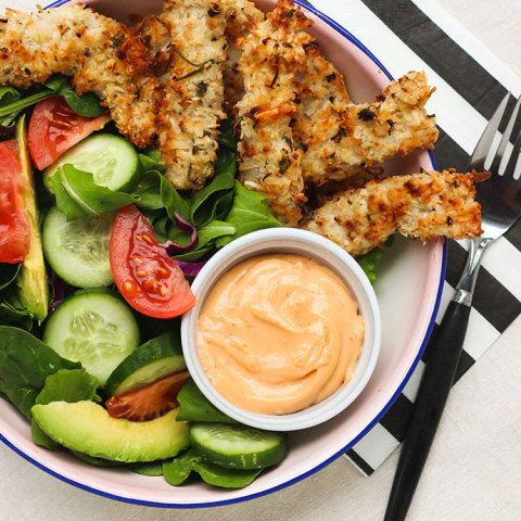 Recipe Coconut Chicken Strips with Spicy Mayo Dipping Sauce - mypoppet.com.au