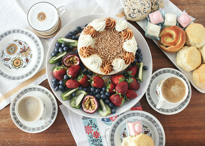 Cake and coffee flatlay - How to host a crafternoon gathering - mypoppet.com.au