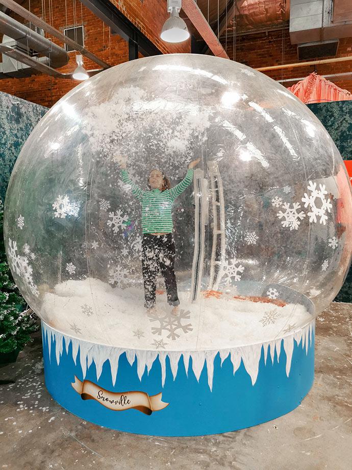 Giant snow globe Christmasland Melbourne Mypoppet.com.au