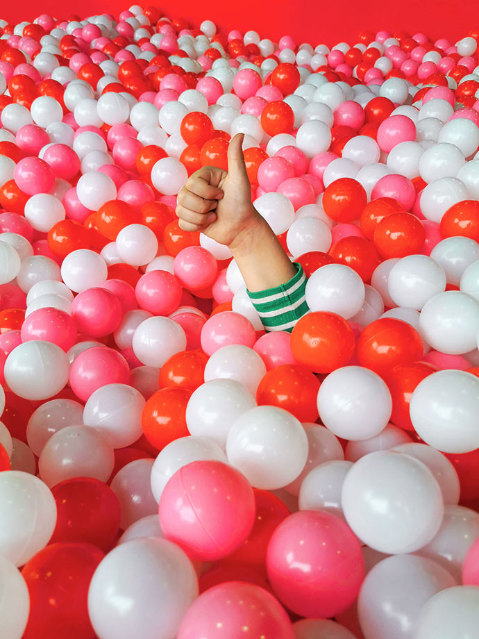 Ball pit thumbs up at christmasland melbourne mypoppet.com.au