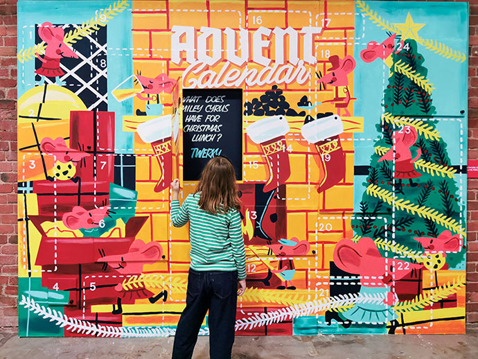 Giant Advent Calendar hand painted by Ballarat illustrator Travis Price.