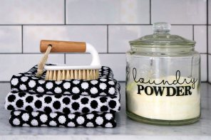 Homemade laundry powder in a glass jar