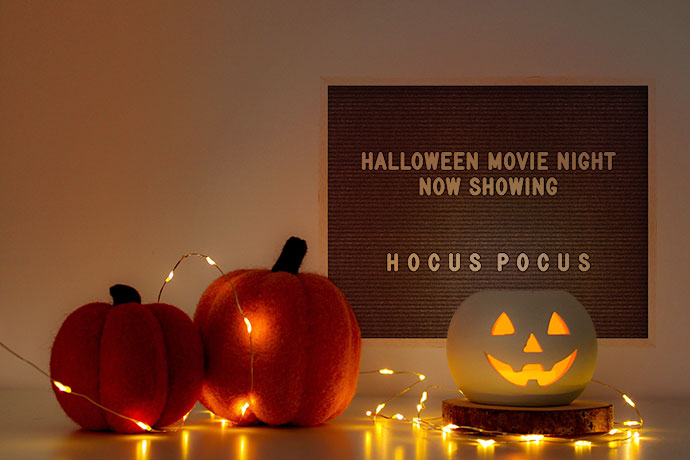 family Halloween movies night sign