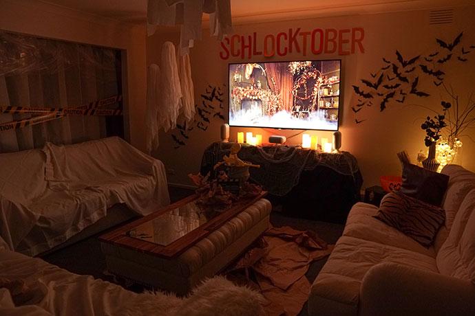 Halloween movie night decor