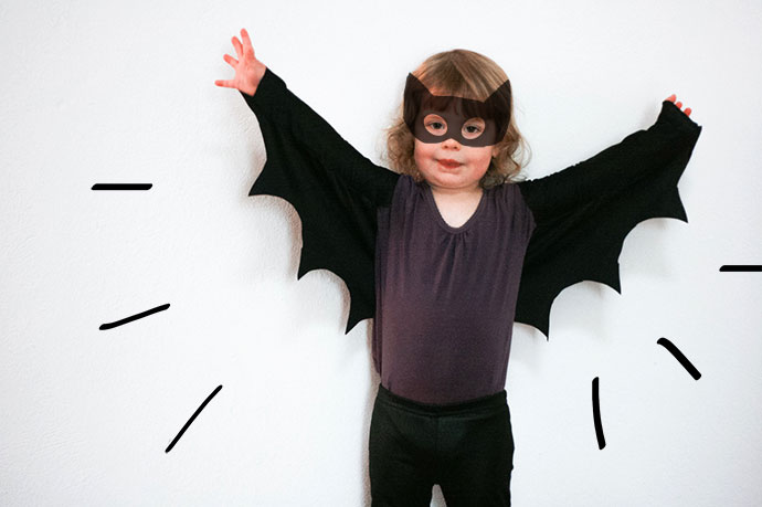 Halloween costume DIY Bat wings - mypoppet.com.au